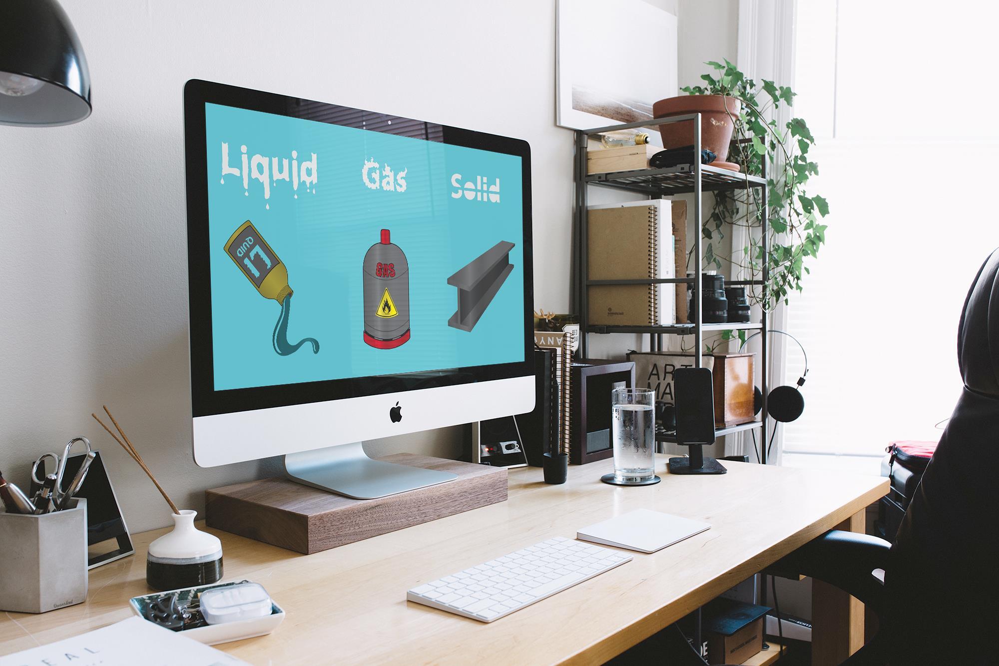Liquid, Gas and Solid Illustration